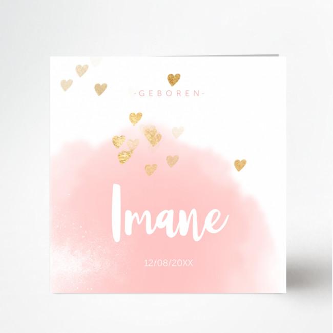 Geboortekaartje Geboortekaart roze hartjes