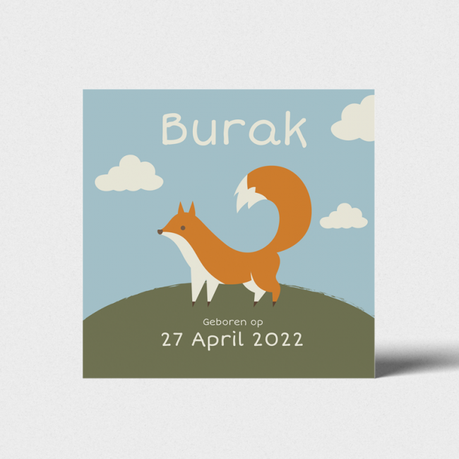 Geboortekaartje Geboortekaart vos