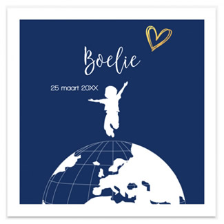 Geboortekaartje Geboortekaartje wereldbol