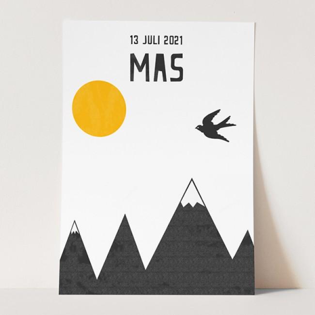 Geboortekaartje gestempelde  berg & zon