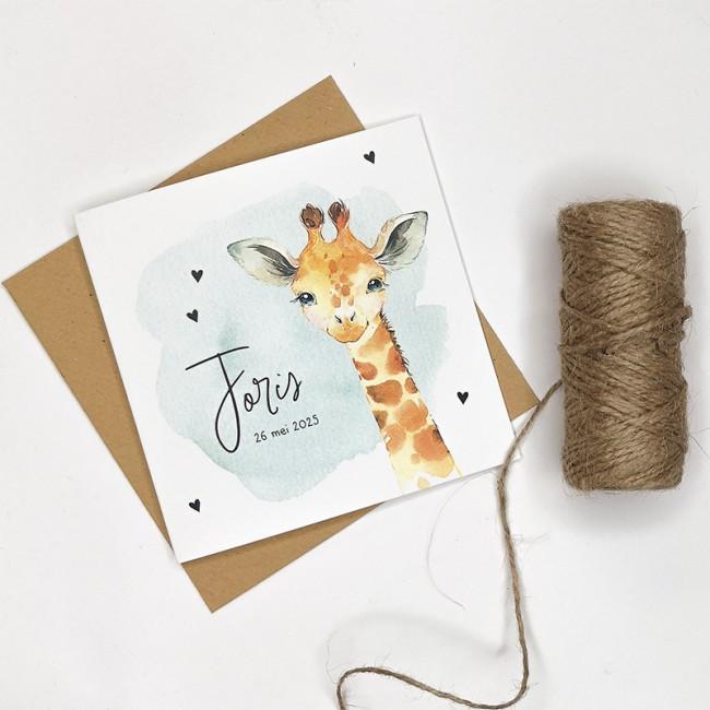 Geboortekaartje Giraf mintgroene waterverf