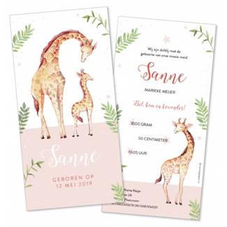 Geboortekaartje Giraffen en blaadjes