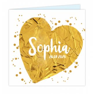 Geboortekaartje Gouden hart
