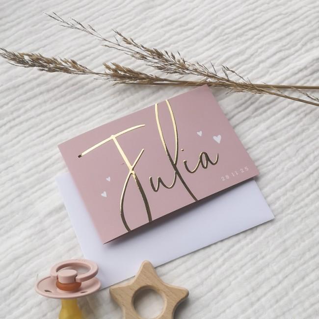 Geboortekaartje Goudfolie kaartje roze