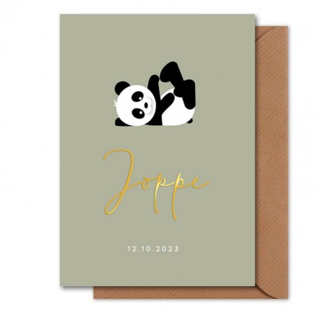 Geboortekaartje goudfolie panda