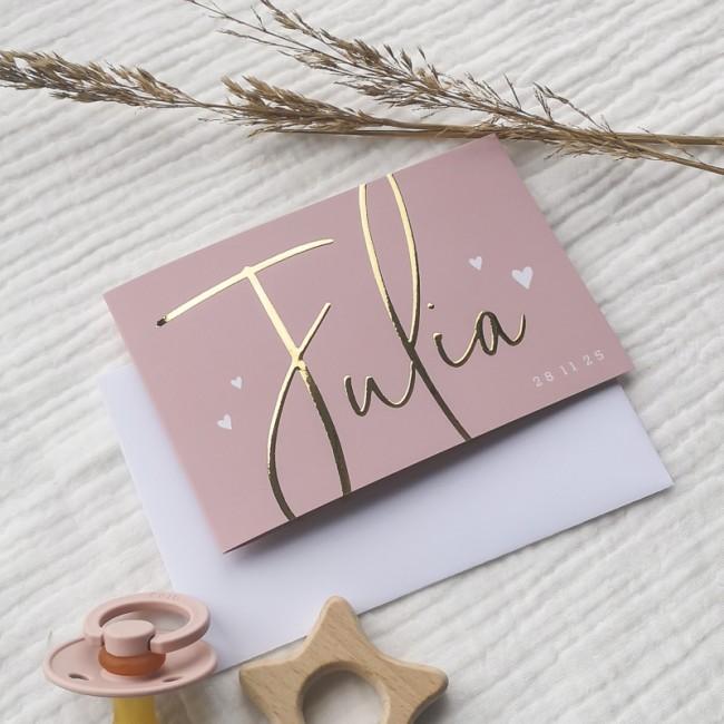 Geboortekaartje Goudfolie typografie roze