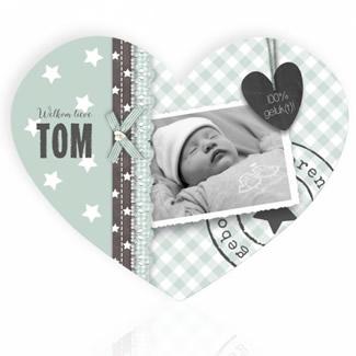 Geboortekaartje Grijsgroen hart met foto