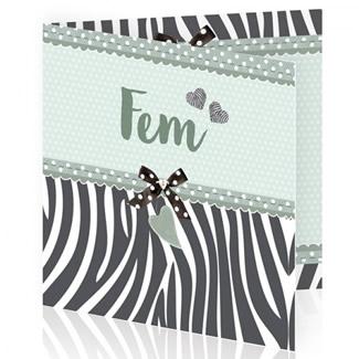 Geboortekaartje Groen met zebraprint