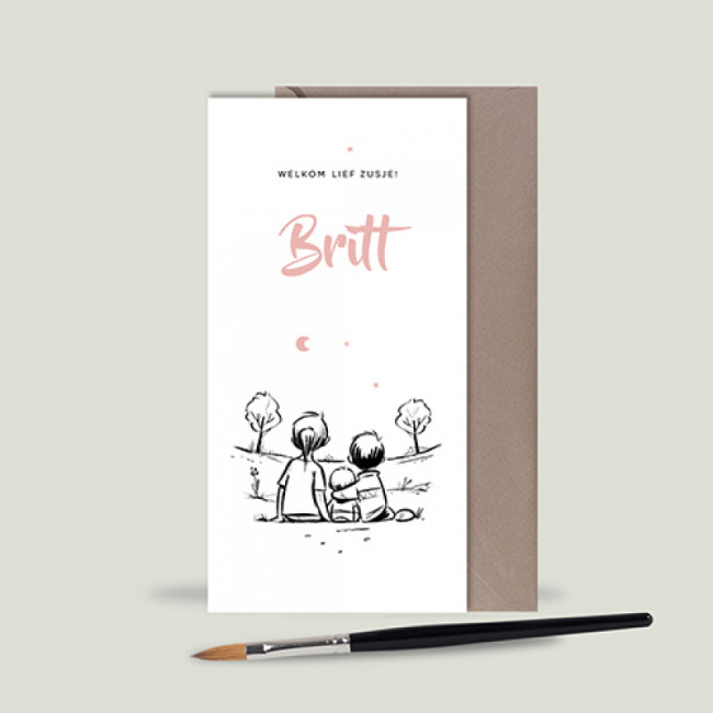Geboortekaartje Handgetekend drie kinderen