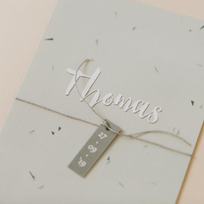 Geboortekaartje Handgetekende confetti