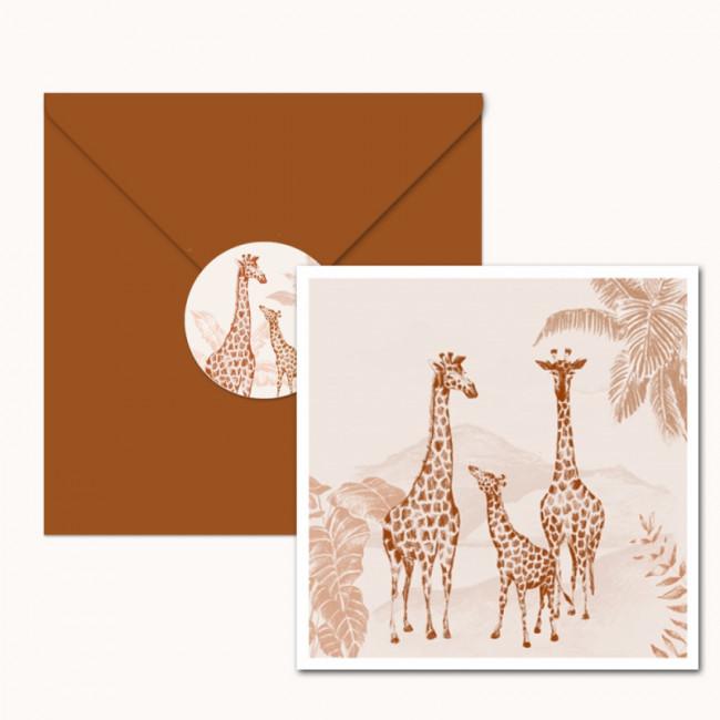Geboortekaartje Handgetekende giraffen