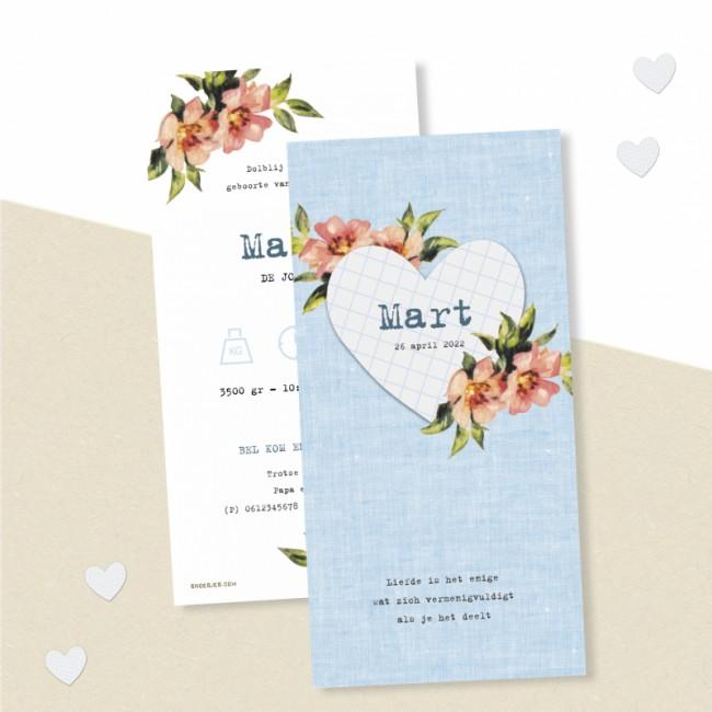Geboortekaartje Hart met bloemen