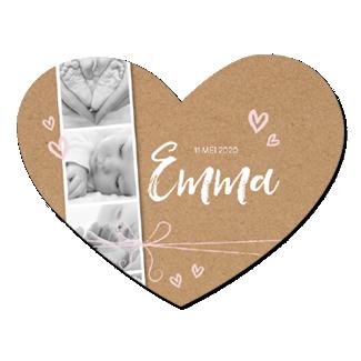 Geboortekaartje Hartvorm met polaroidstrip