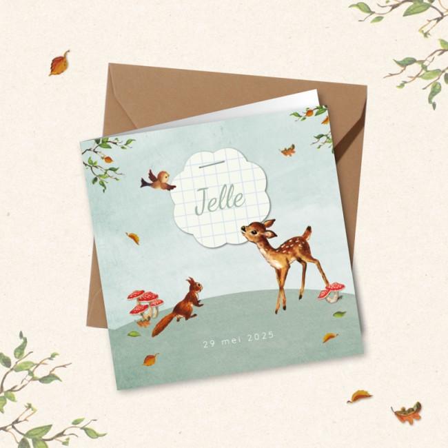 Geboortekaartje Herfst met bosdieren