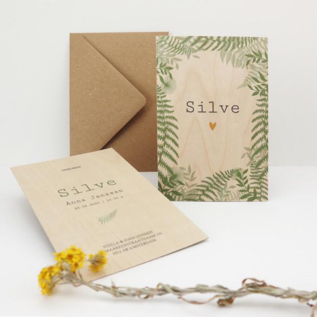 Geboortekaartje Houten kaartje botanisch