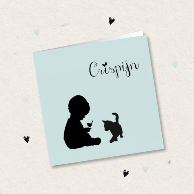 Geboortekaartje Jongetje met silhouet kat