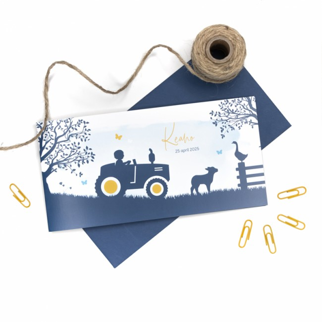 Geboortekaartje Jongetje op tractor