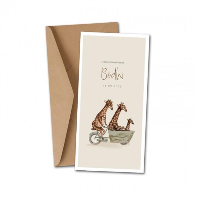 Geboortekaartje Jungle giraffen bakfiets