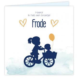 Geboortekaartje Kaart zus & broer op fiets