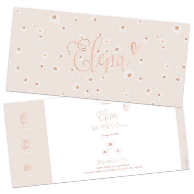 Geboortekaartje kaartje folie bloemen