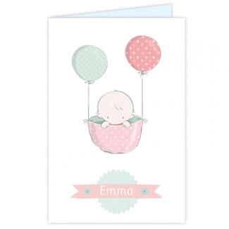 Geboortekaartje Kaartje met baby en ballon