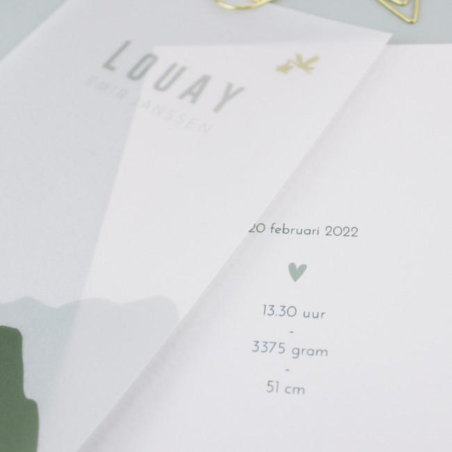 Geboortekaartje Kalkpapier labels bergen