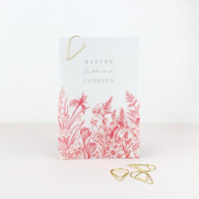 Geboortekaartje Kalkpapier labels bloemen