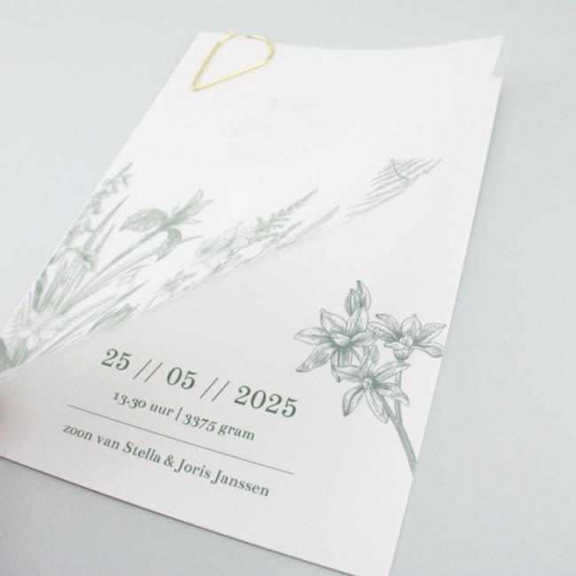 Geboortekaartje Kalkpapier wilde bloemen