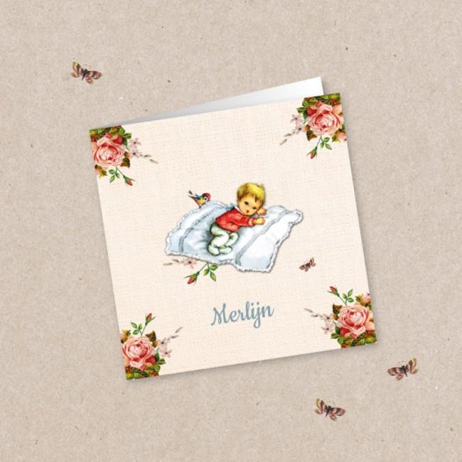 Geboortekaartje Kindje en rozen