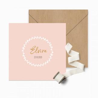 Geboortekaartje Klassiek roze