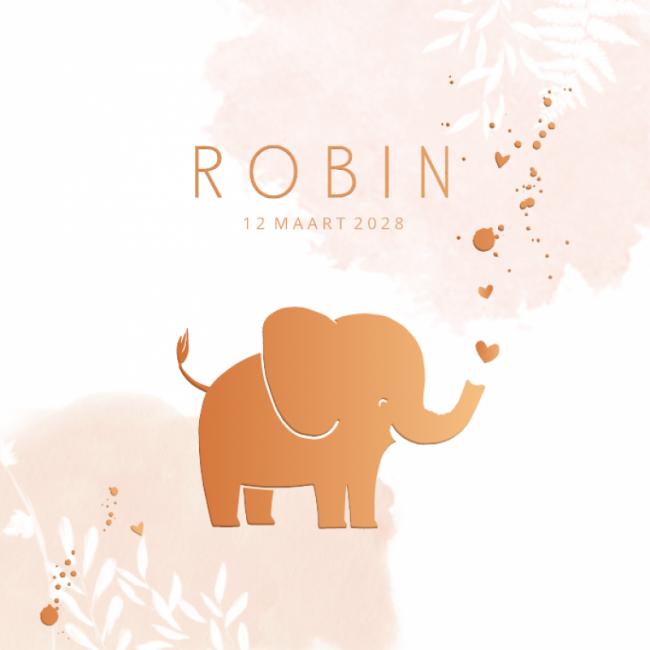 Geboortekaartje klein olifantje koper