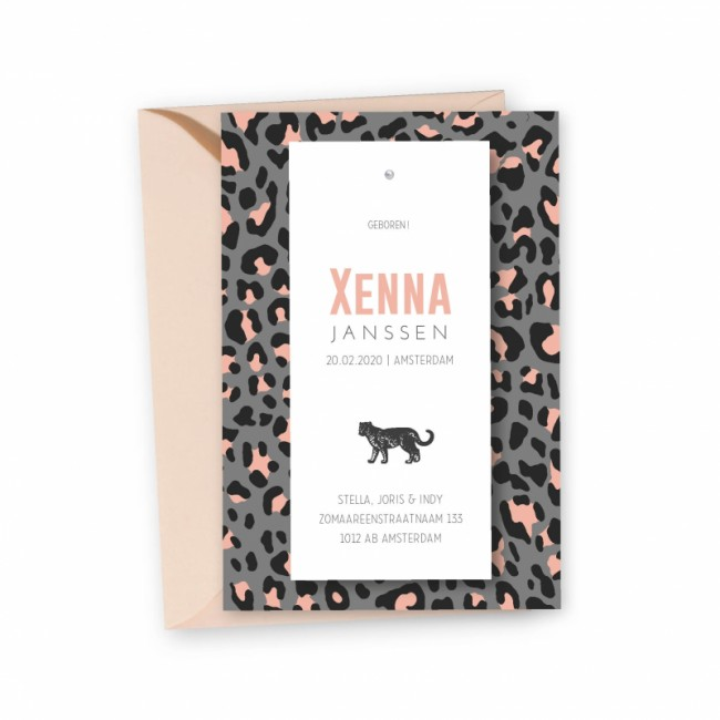 Geboortekaartje klembord kaart Xenna