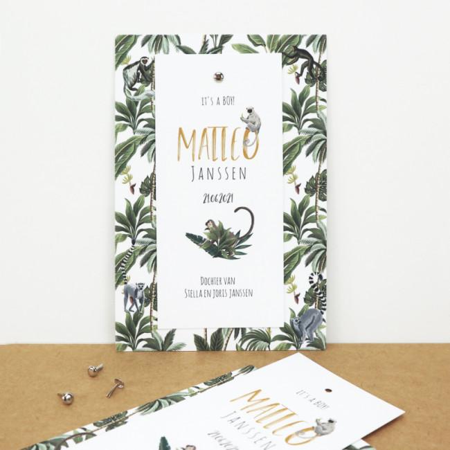 Geboortekaartje Klembord kaartje tropisch