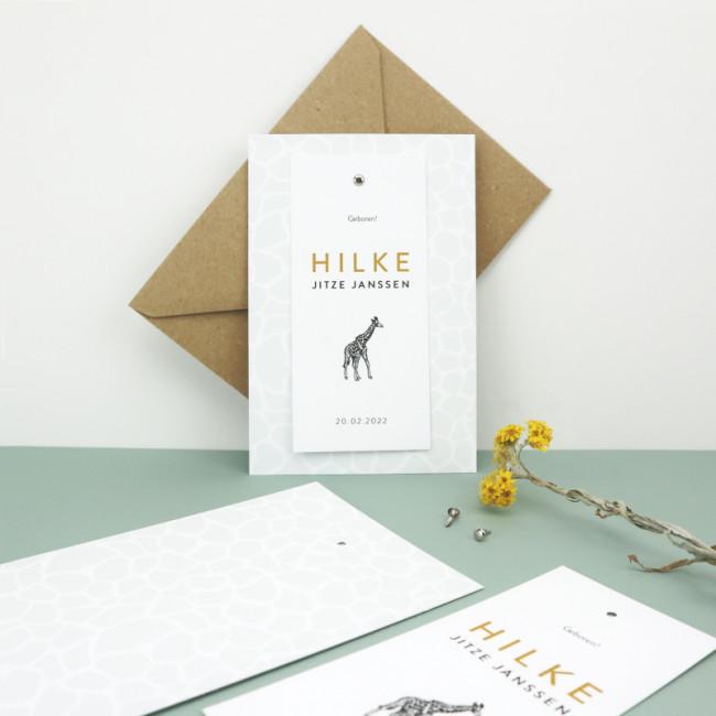 Geboortekaartje Klembord met label giraf