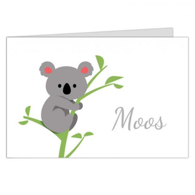 Geboortekaartje koala op tak