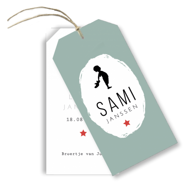 Geboortekaartje Label kaart - Sami