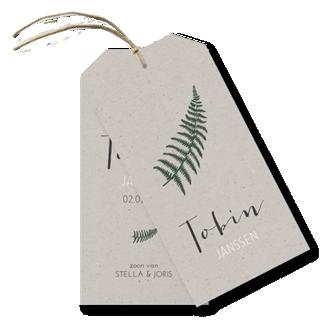Geboortekaartje Label kaartje - Tobin