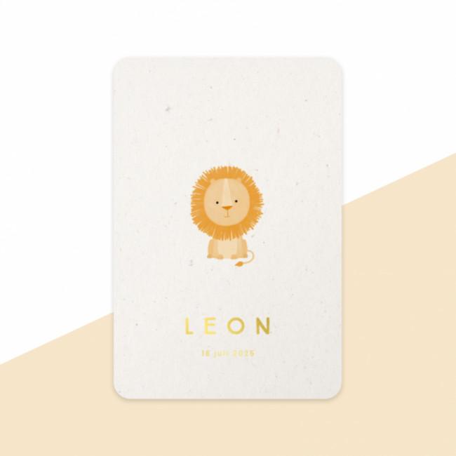 Geboortekaartje Leeuwtje - goudfolie