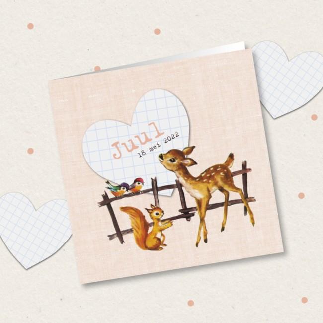 Geboortekaartje Lief hertje bij een hekje