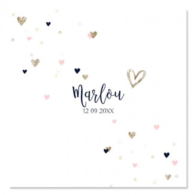 Geboortekaartje Lief kaartje hartjes