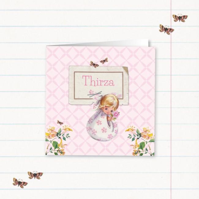 Geboortekaartje Lief meisje in luierdoek