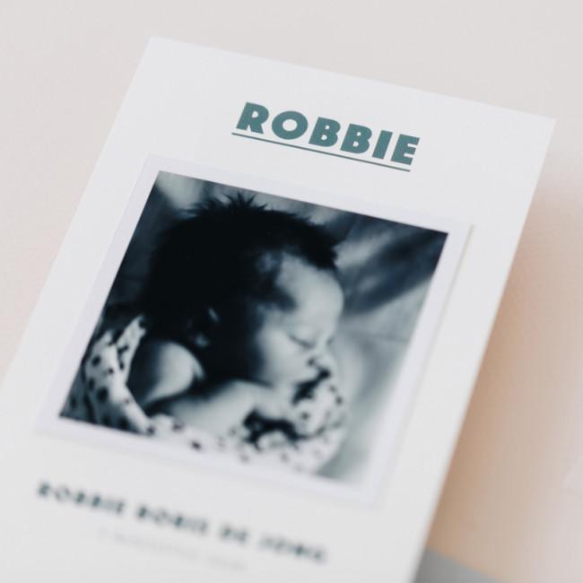 Geboortekaartje Losse polaroid zwart-wit