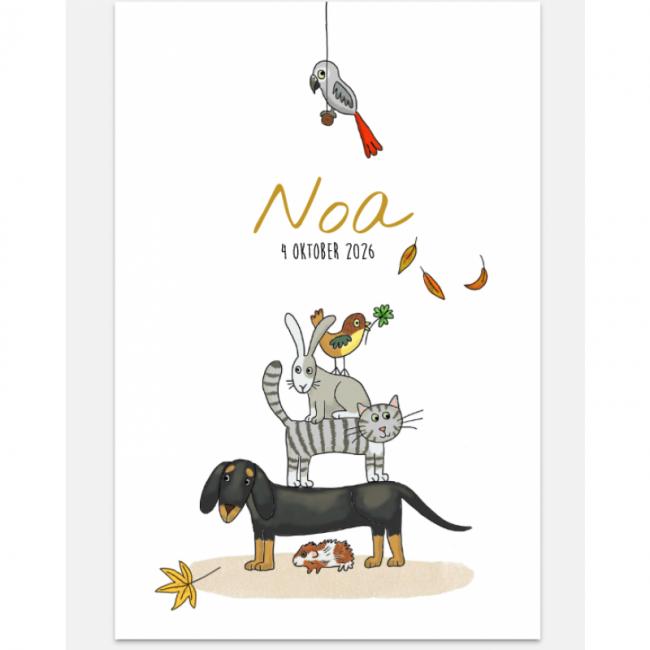 Geboortekaartje met huisdieren