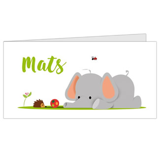 Geboortekaartje olifant en egel