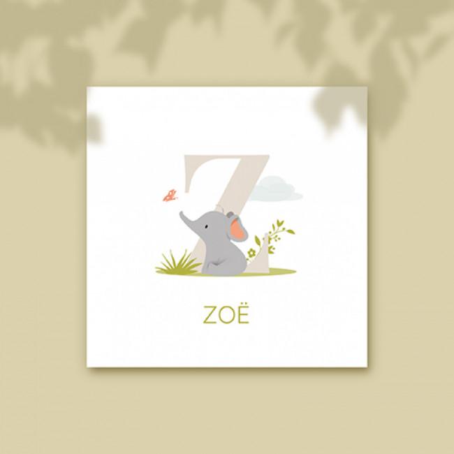 Geboortekaartje olifant voor letter