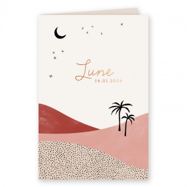 Geboortekaartje Palmbomen en woestijn