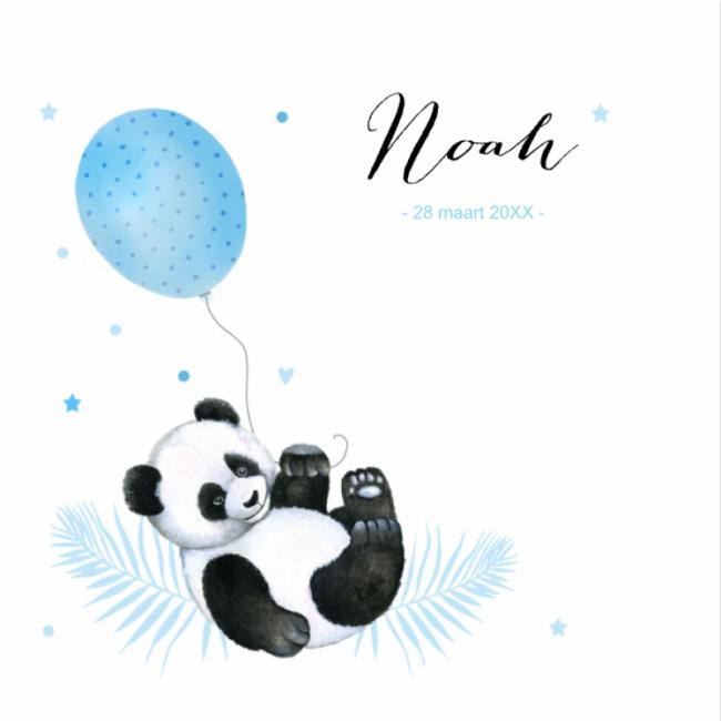 Geboortekaartje Panda jongen ballon