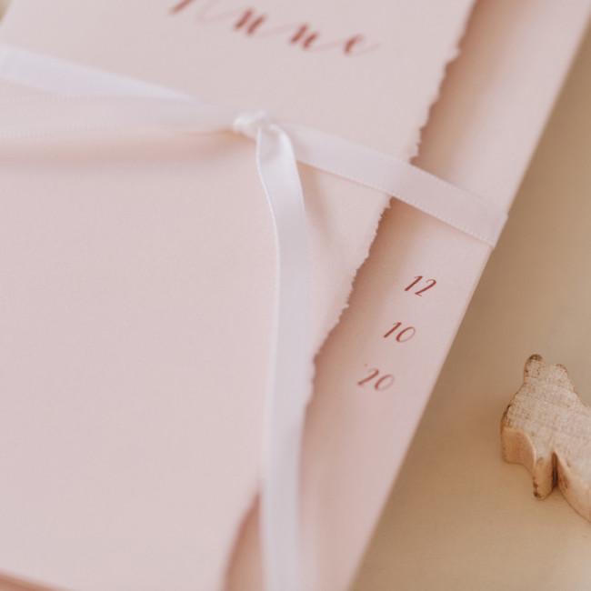 Geboortekaartje Pocketfold met naam - roze