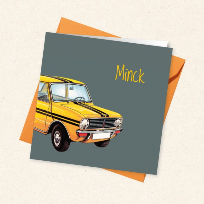 Geboortekaartje Retro met gele auto