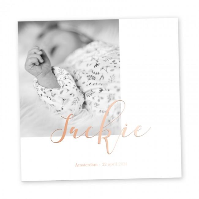 Geboortekaartje Roséfolie en foto